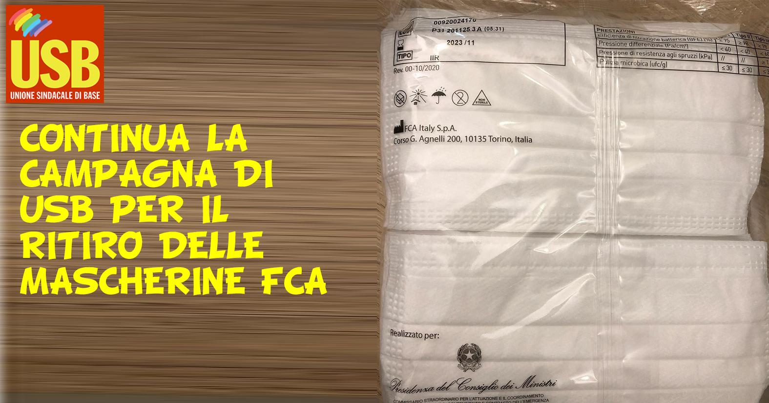 Continua la campagna di USB per il ritiro delle mascherine FCA: vogliamo una scuola aperta e sicura